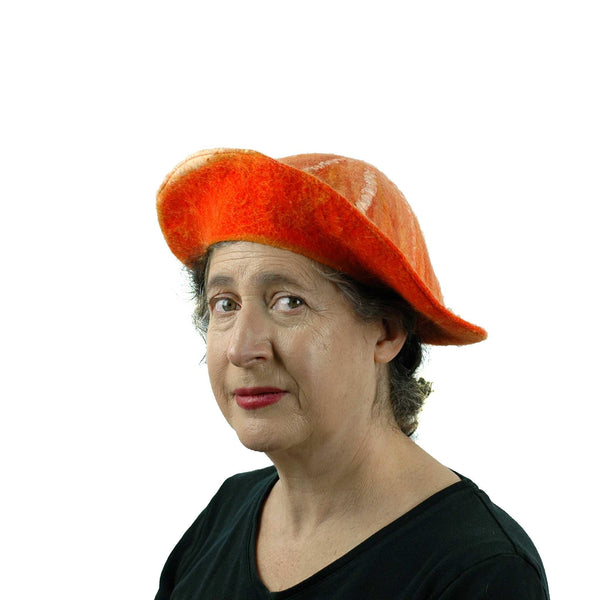 Kawaii Orange Slice Felted Beret - threequarters view