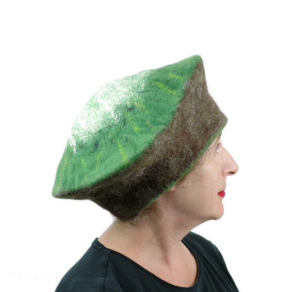 Kitsch Kiwi Beret Extra Large Size - side view