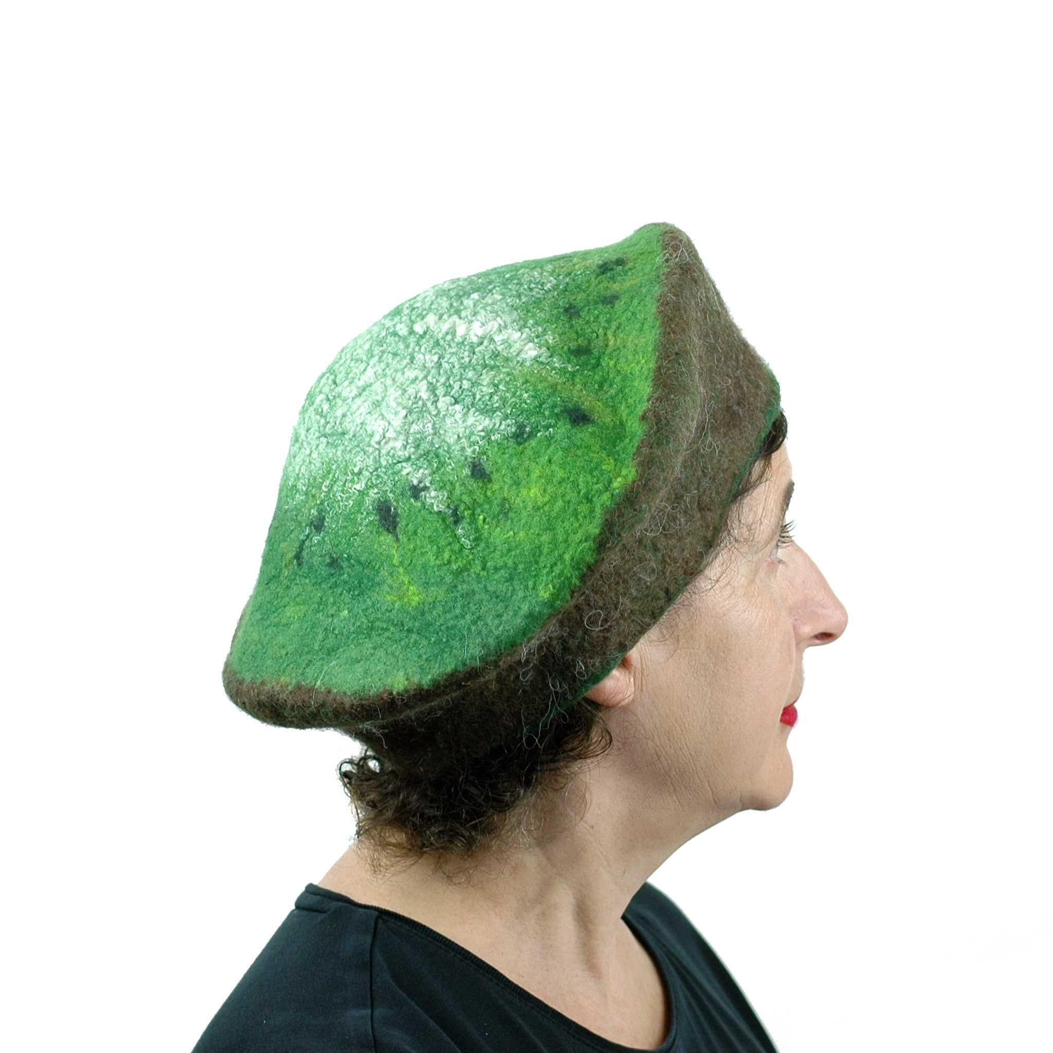 Large Size Felted Kiwi Hat - back view