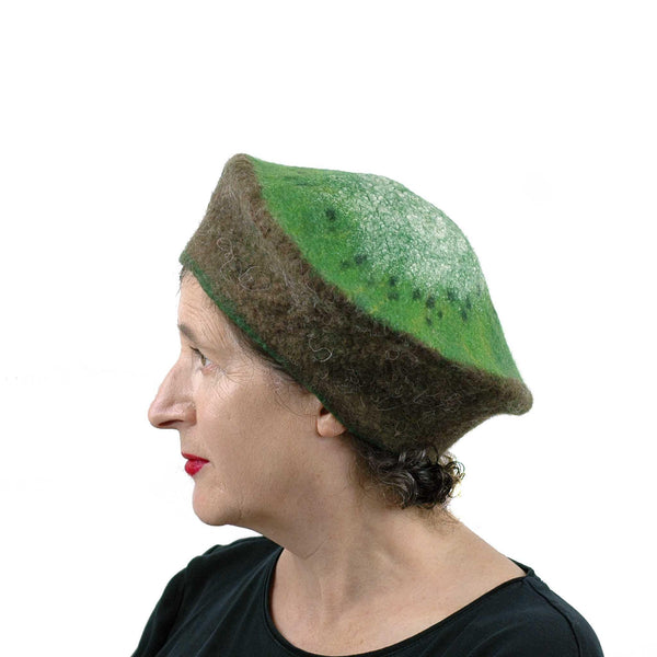 Large Size Felted Kiwi Hat - side view