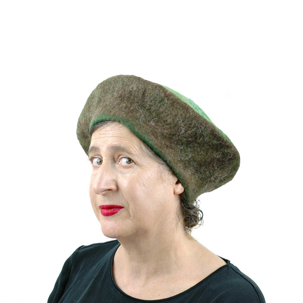 Large Size Felted Kiwi Hat - threequarters view