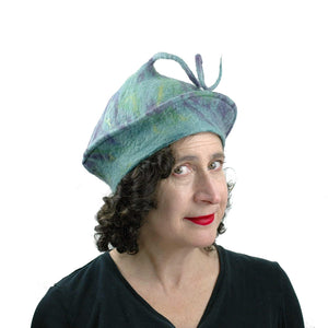 Lavender Green Curlicue Beret - three quarters view