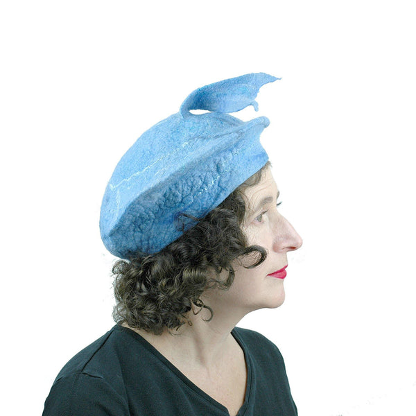 Light Blue Beret with Fishtail - side view