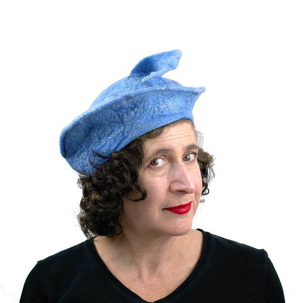 Light Blue Beret with Fishtail - threequarters view