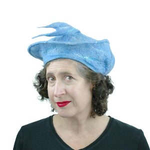 Light Blue Beret with Fishtail - front view