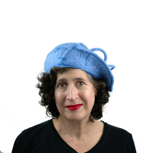 Light Blue Curlicue Beret - front view