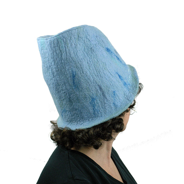 Light Blue Felted Bucket Hat with Chevron Pattern - back view