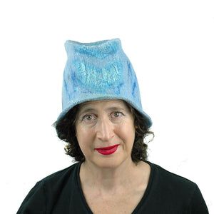 Light Blue Felted Bucket Hat with Chevron Pattern - front view