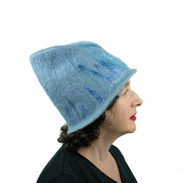 Light Blue Felted Bucket Hat with Chevron Pattern - side view