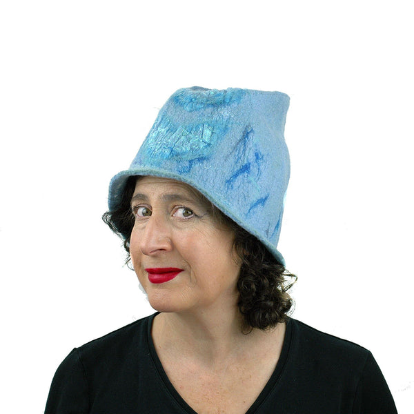 Light Blue Felted Bucket Hat with Chevron Pattern - threequarters view