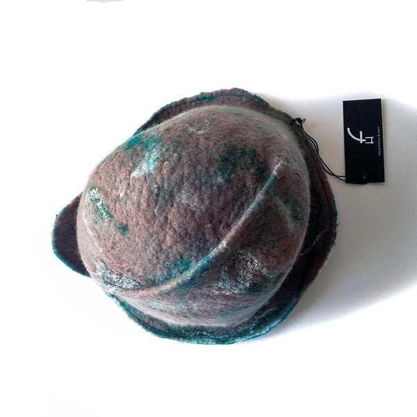 Felted Light Brown Highland Style Cloche - top view