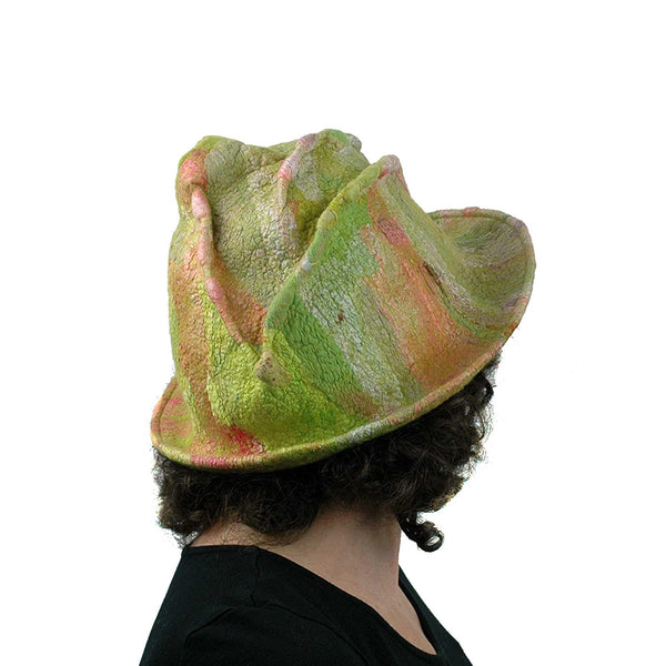 Lime Green and Hot Pink Brimmed Hat - back view
