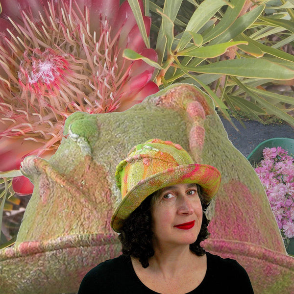 Lime Green and Hot Pink Brimmed Hat set amongst the proteas and peonies.