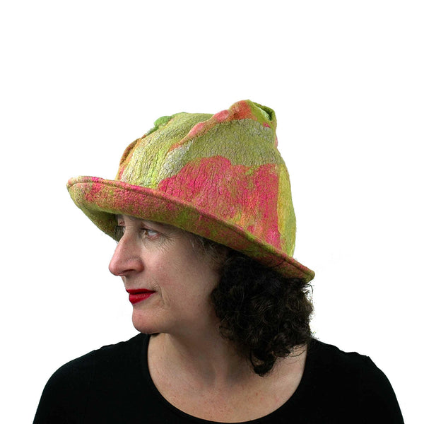 Lime Green and Hot Pink Brimmed Hat - side view