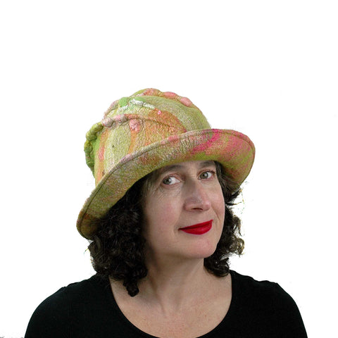 Lime Green and Hot Pink Brimmed Hat - three quarters view