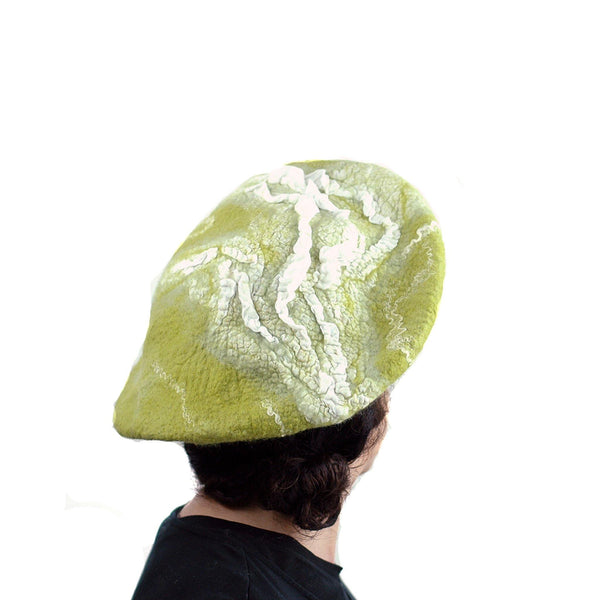 White and Lime Green Beret - back view