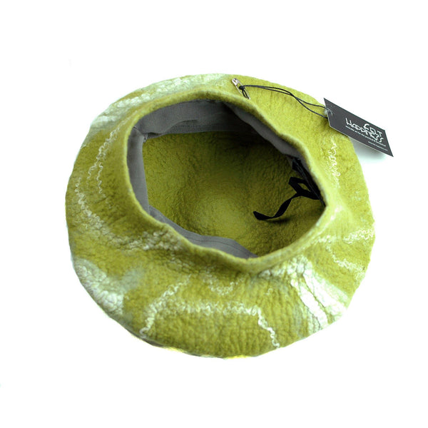 White and Lime Green Beret - inside view