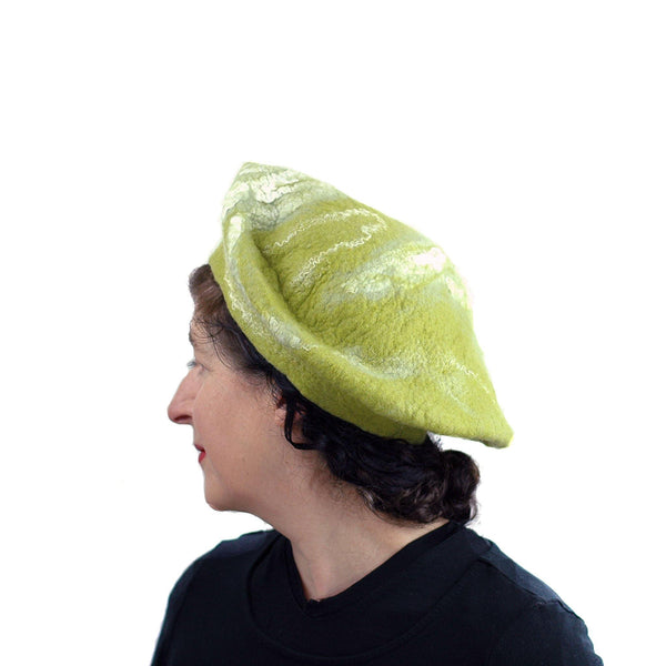 White and Lime Green Beret - side view