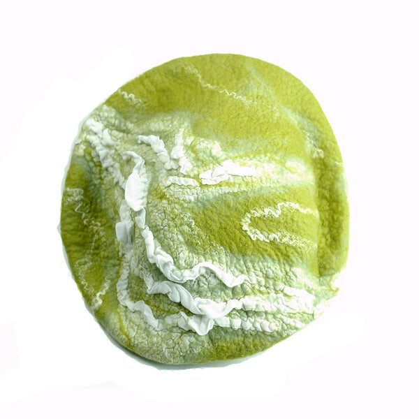 White and Lime Green Beret -top view