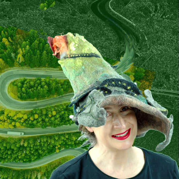 Long and Winding Road Wizard Hat with a digital collaged background of a road.
