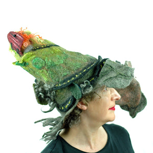 Wearable Art Wizard Hat of Mountain with a Long and Winding Road