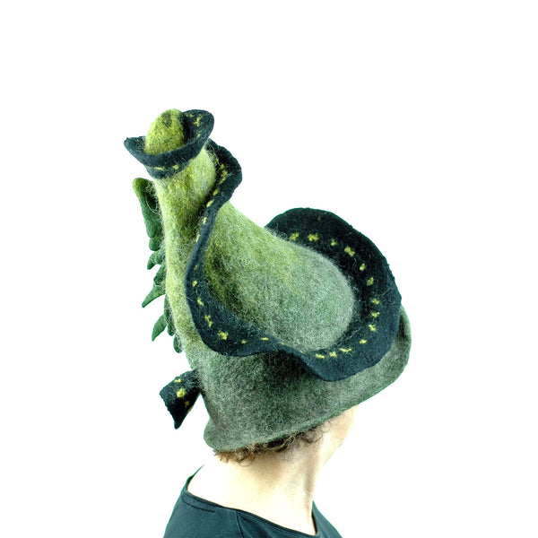 Long and Winding Road Felted Witch Hat - side view