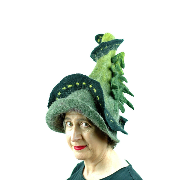 Long and Winding Road Felted Witch Hat - three quarters view