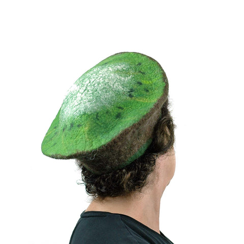 Medium Sized Felted Kiwi Beret - back view