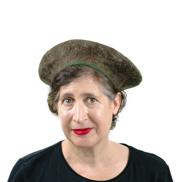 Medium Sized Felted Kiwi Beret - front view