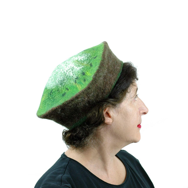 Medium Sized Felted Kiwi Beret -side view