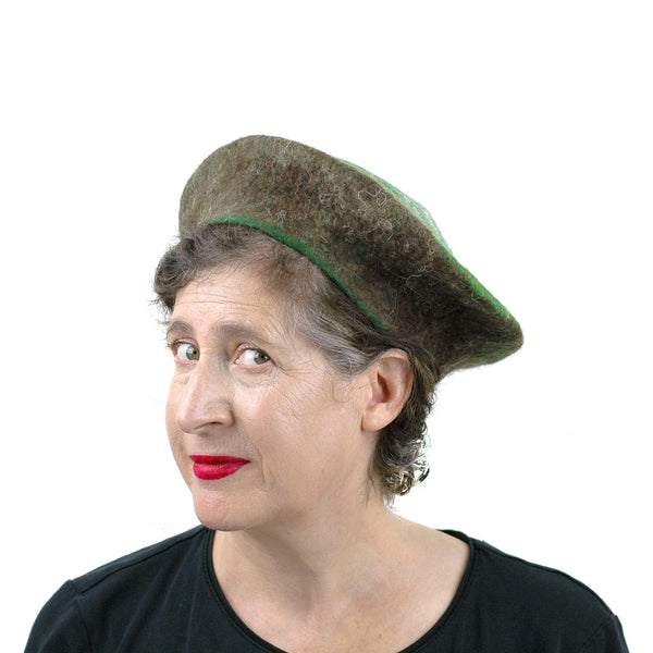 Medium Sized Felted Kiwi Beret - threequarters view