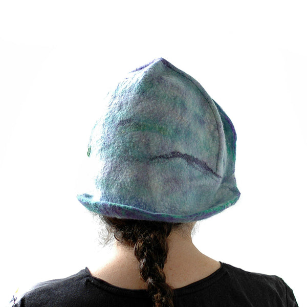 Mermaids Cloche in Green and Purple -back view