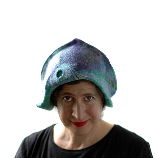 Mermaids Cloche in Green and Purple - front view