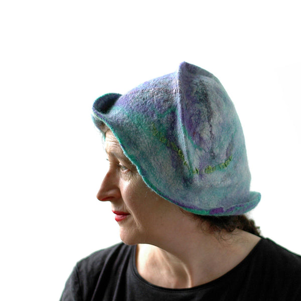 Mermaids Cloche in Green and Purple - side view
