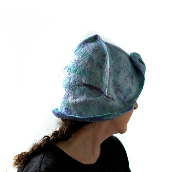 Mermaids Cloche in Green and Purple - side view 2