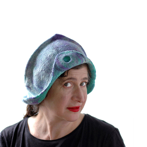 Mermaids Cloche in Green and Purple - three quarters view