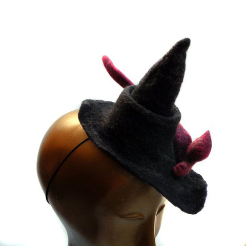 Mini Witch Cocktail Hat with Red Cat