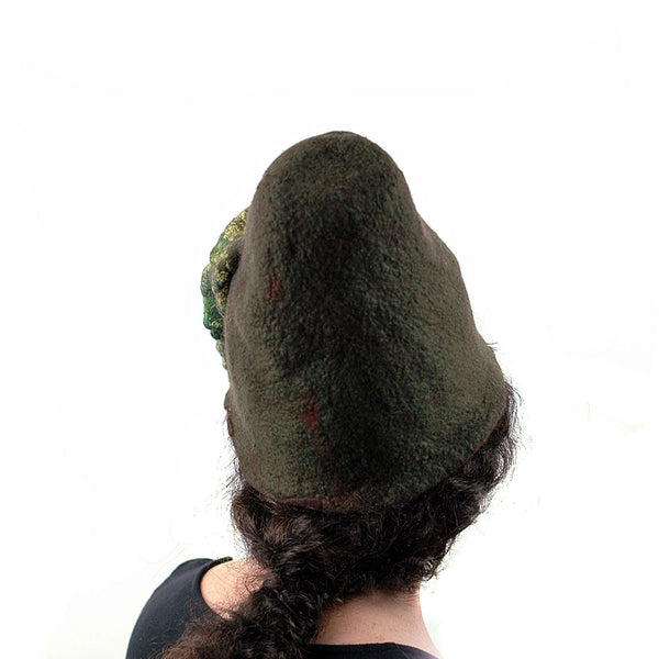 Mossy Forest Felted Fez - back view