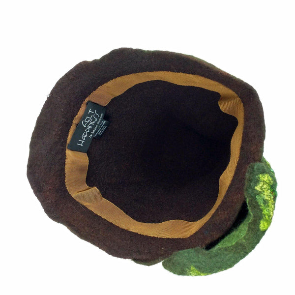 Mossy Forest Felted Fez - inside view