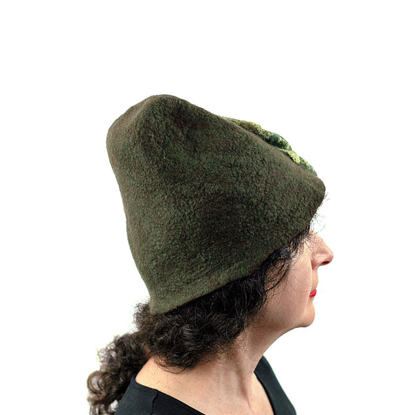 Mossy Forest Felted Fez - profile view