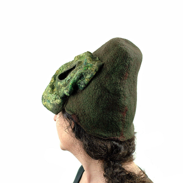 Mossy Forest Felted Fez - side back view