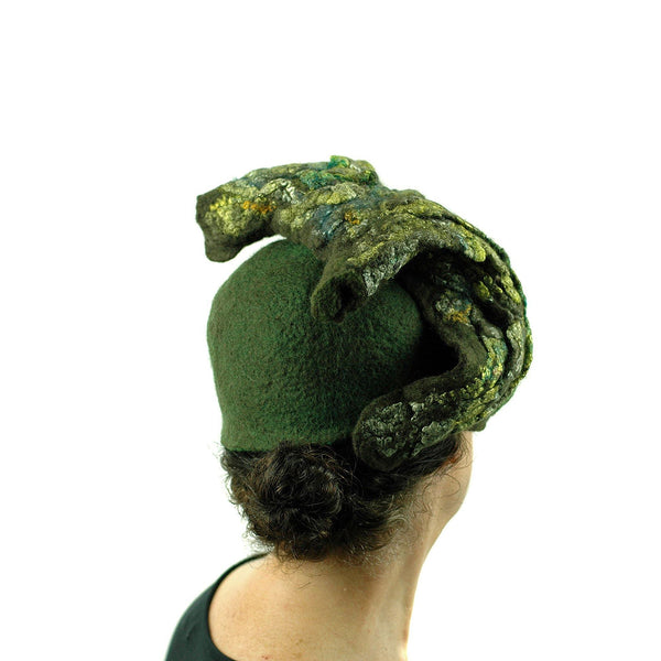 Green Colored, Mossy Forest, Retro Pillbox Hat - back view