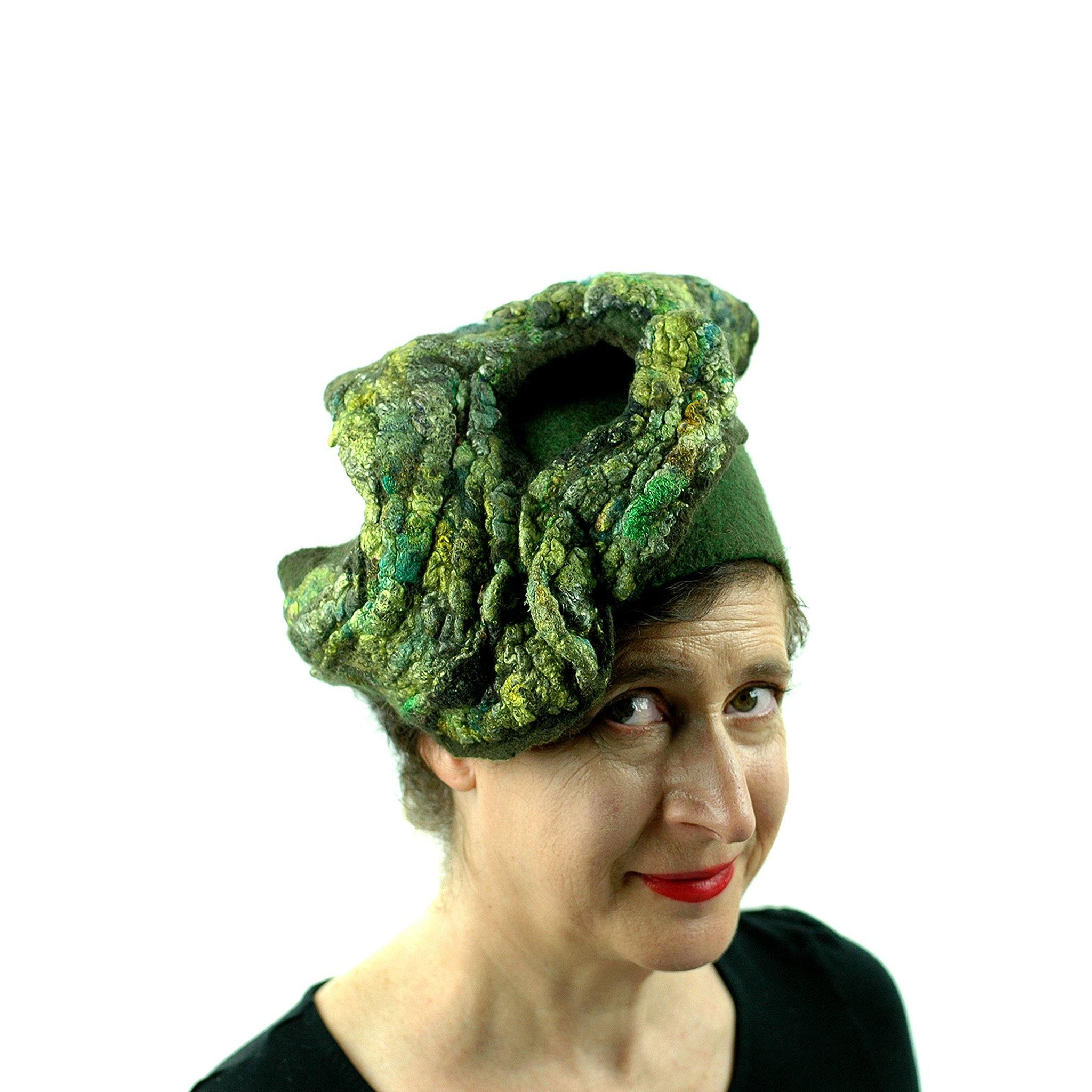 Green Colored, Mossy Forest, Retro Pillbox Hat - front view