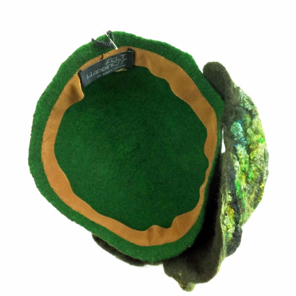 Green Colored, Mossy Forest, Retro Pillbox Hat - inside view