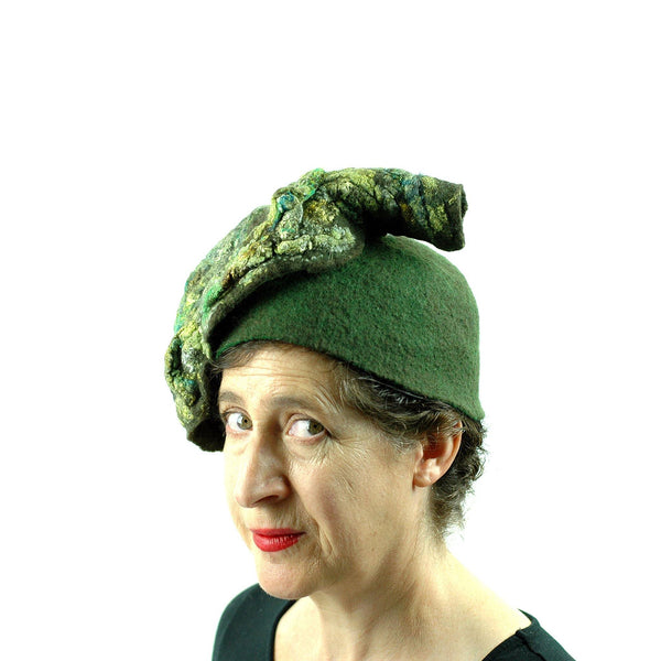 Green Colored, Mossy Forest, Retro Pillbox Hat - three quarters view
