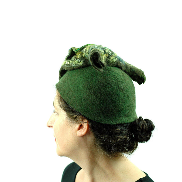 Green Colored, Mossy Forest, Retro Pillbox Hat - side view