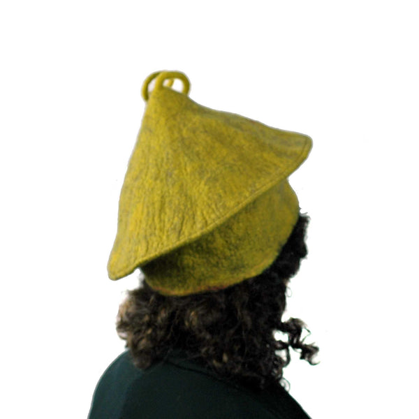 Mustard Yellow Felted Beret with Curlicue  -back view
