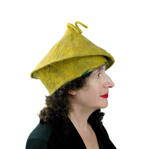 Mustard Yellow Felted Beret with Curlicue  - side view