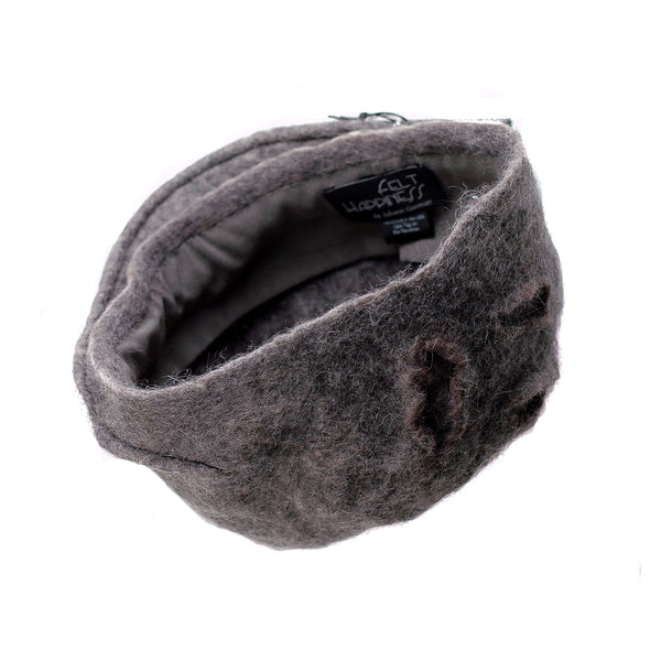 Simple Gray Gotland Wool Beret - inside view