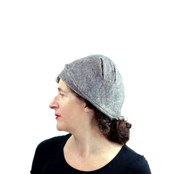 Simple Gray Gotland Wool Beret - side view 2